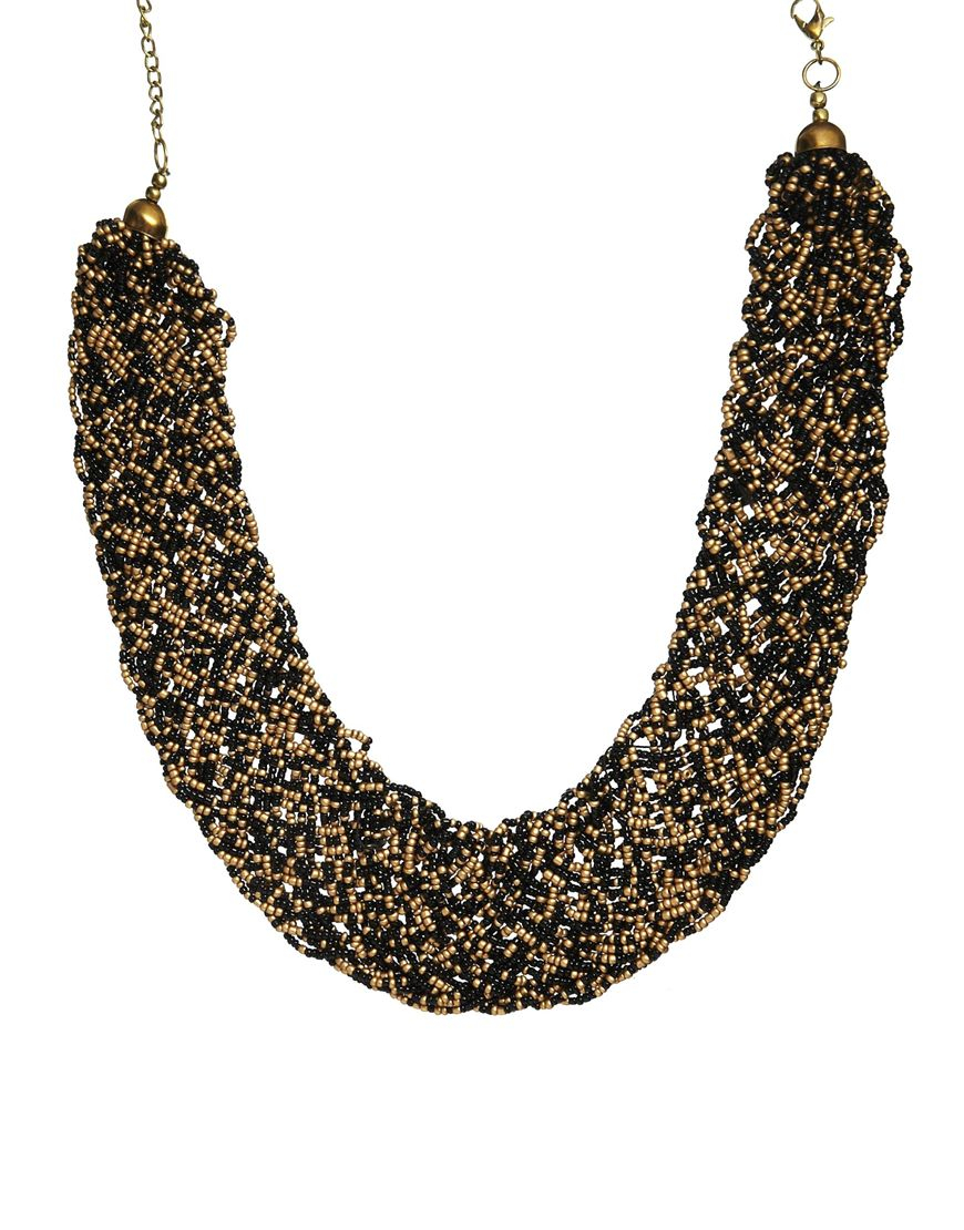 Lyst Pull Amp Bear Pull Bear Necklace With Gold Black Beads