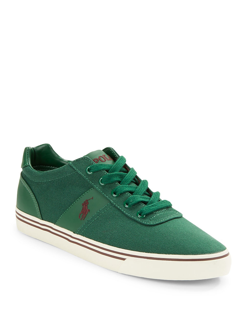 polo ralph hanford canvas lace up sneakers in green