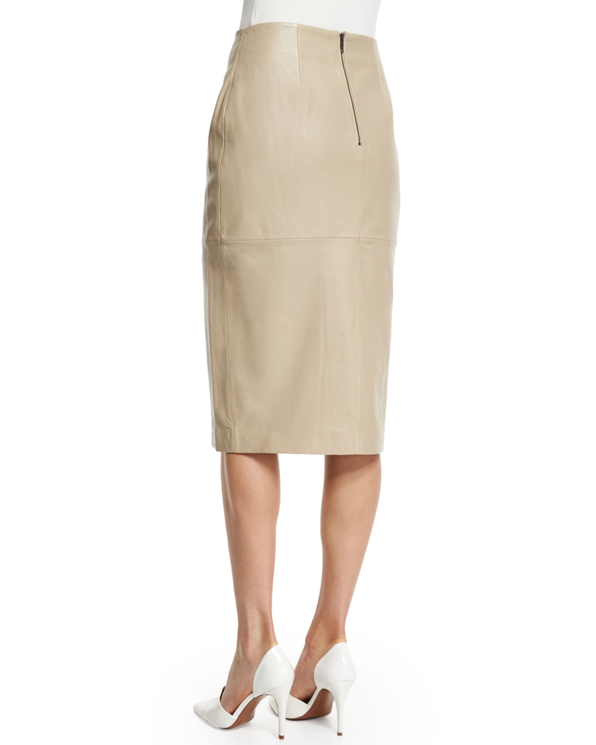 Nicholas Leather Split-front Pencil Skirt in Natural | Lyst