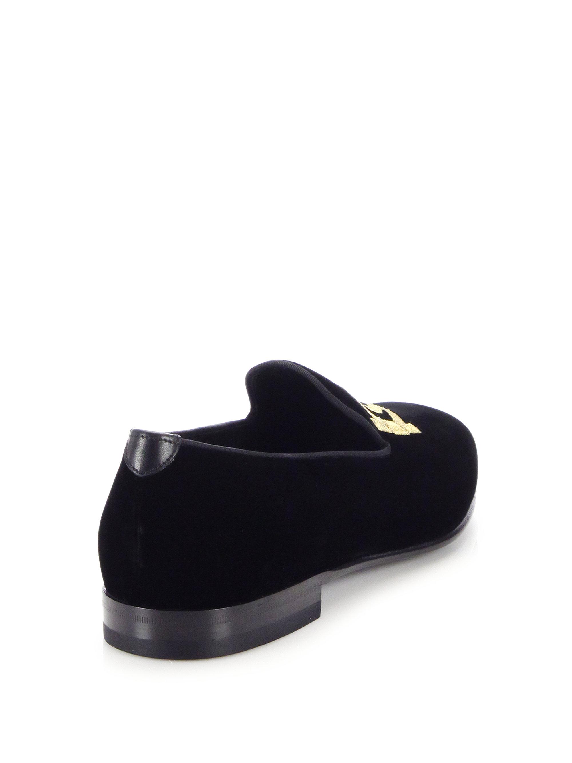 037c6bad4881 Lyst - Ferragamo Double Gancini Velvet Smoking Slippers in Black for Men