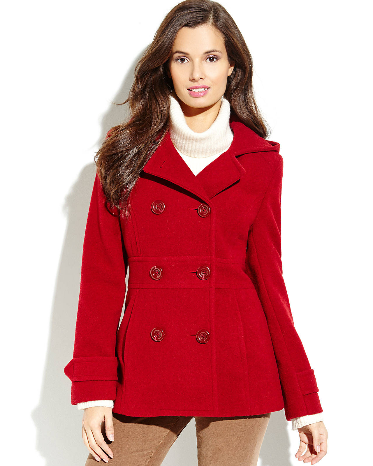 Red Pea Coat with Hood