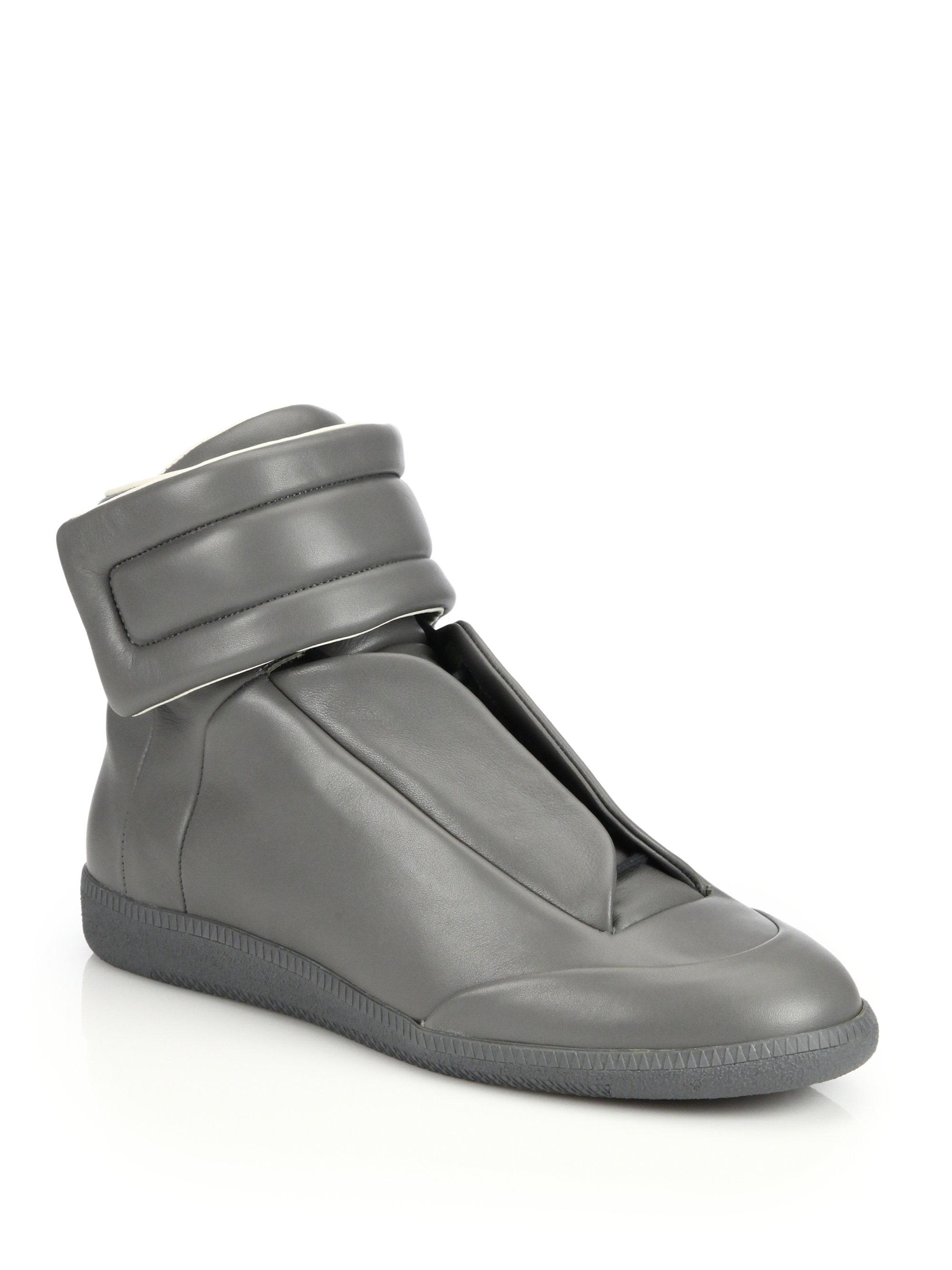 Maison margiela 22 grey leather future hi top sneakers in for Maison margiela 22