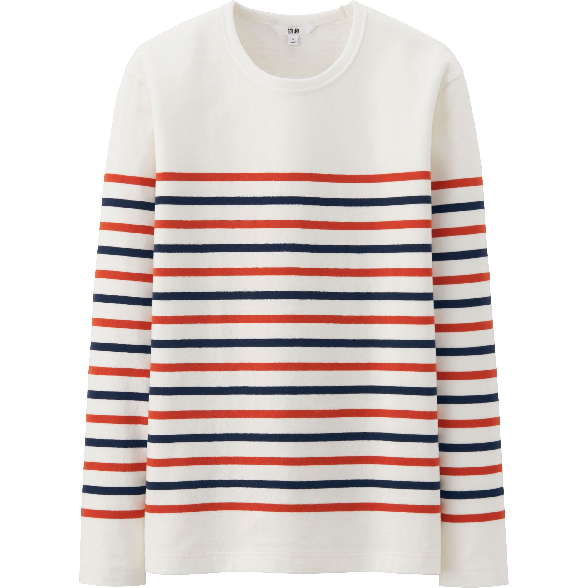 Uniqlo Men Washed Striped Long Sleeve T Shirt In White For