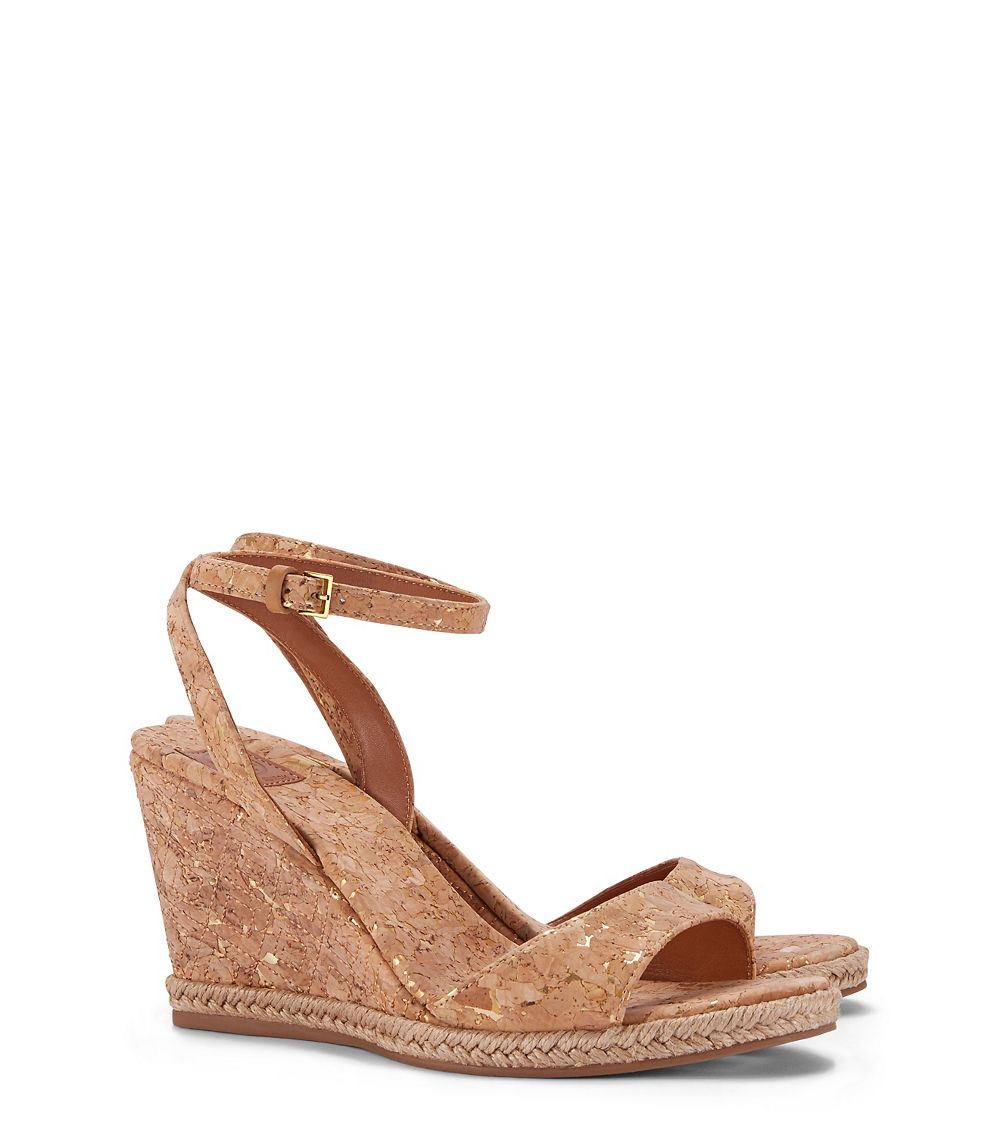 a567cc516 Lyst - Tory Burch Marion Quilted Espadrille Wedge Sandal in Natural