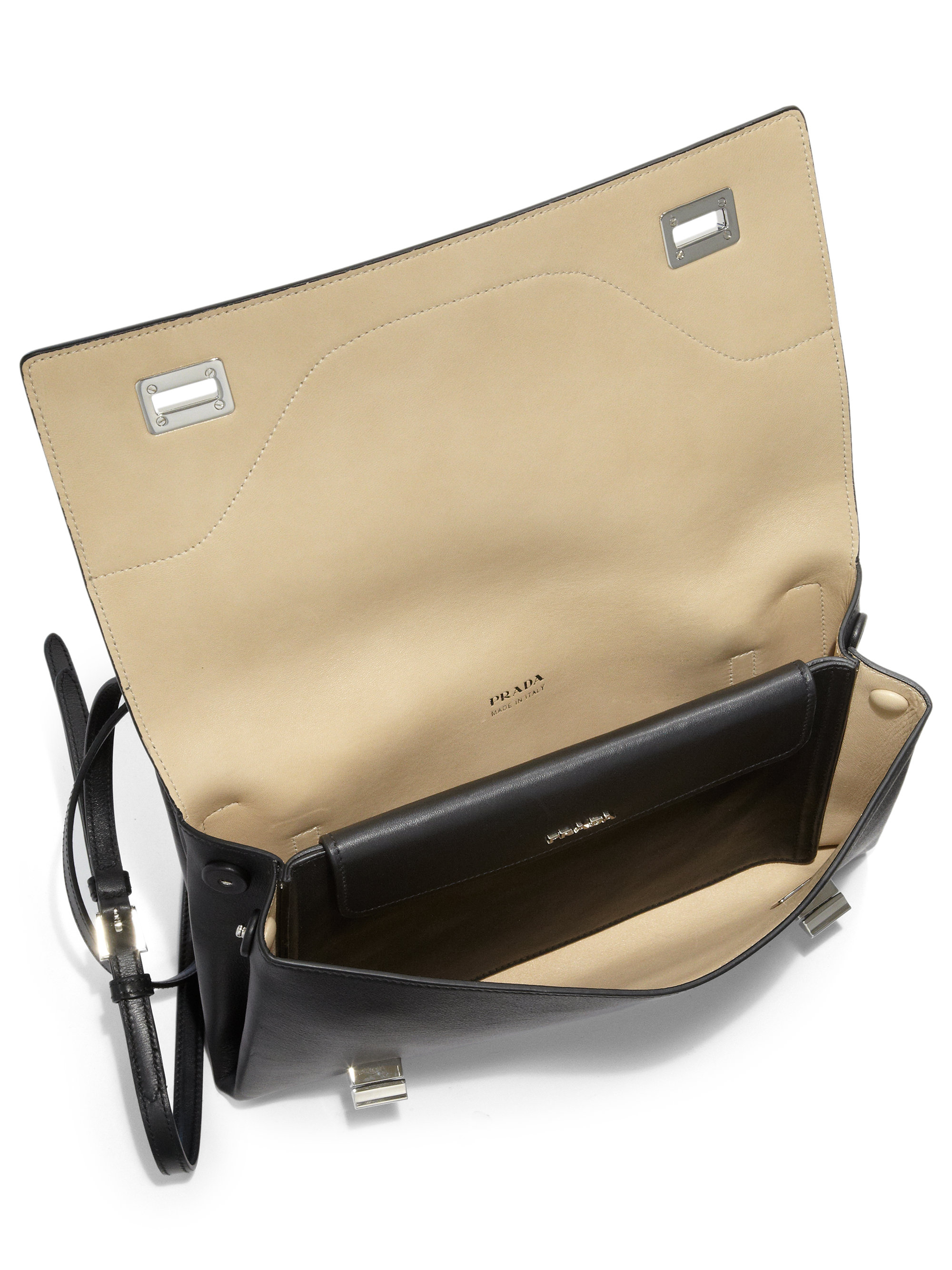 bf4e0508b052 ... promo code for lyst prada vitello soft double shoulder bag in black  0ff6d 3ea06 ...