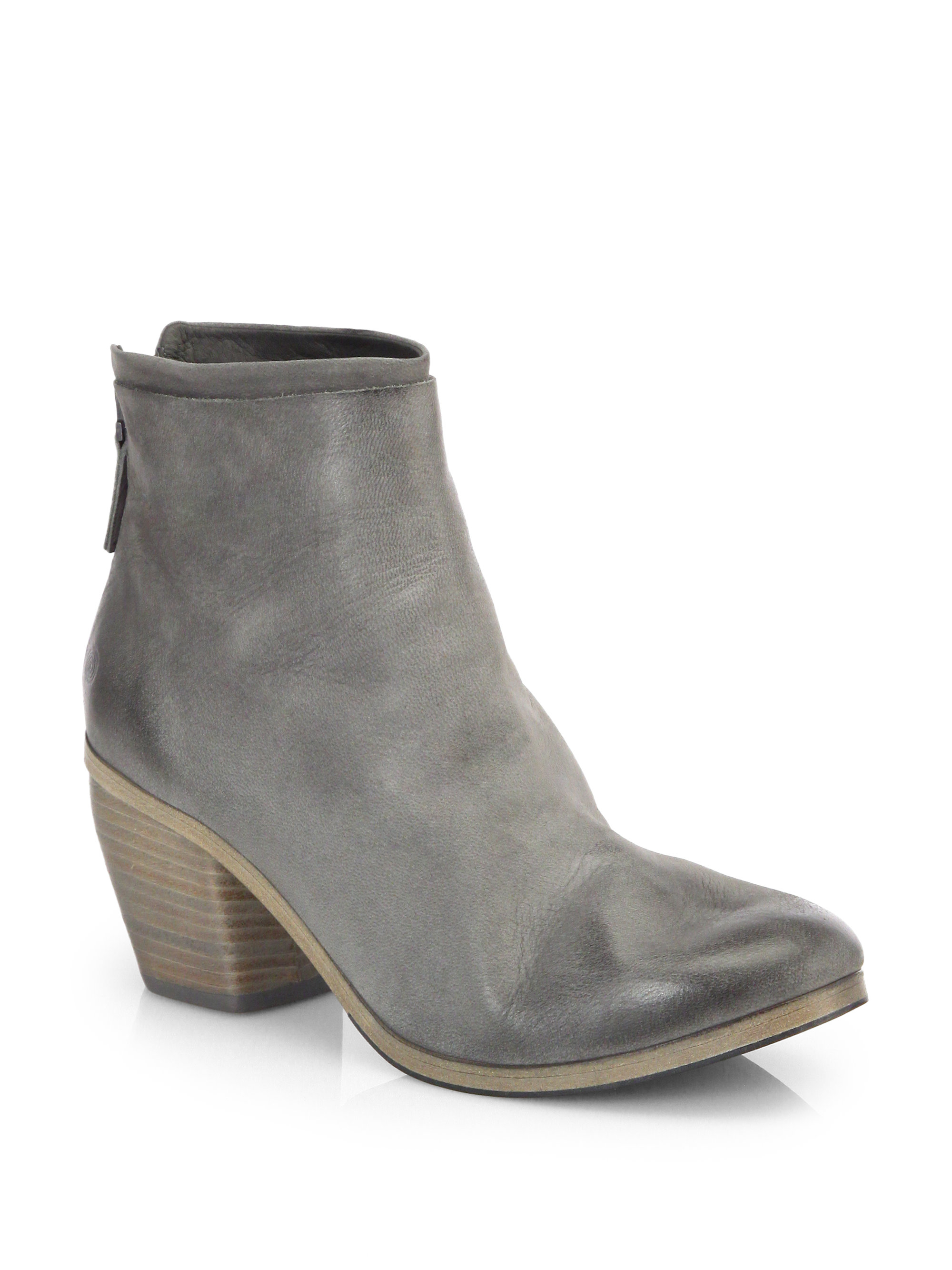 mars 232 ll suede wooden heel ankle boots in gray lyst