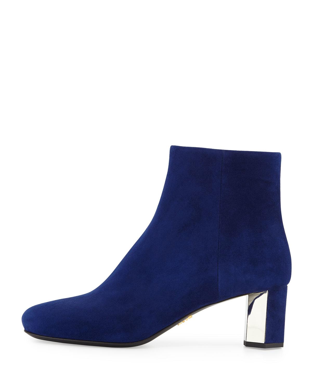 Prada Suede Metallic Heel Ankle Boot In Blue Lyst