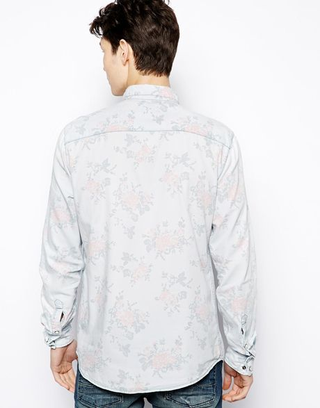 Pull Bear Western Denim Shirt With Floral Print In Blue