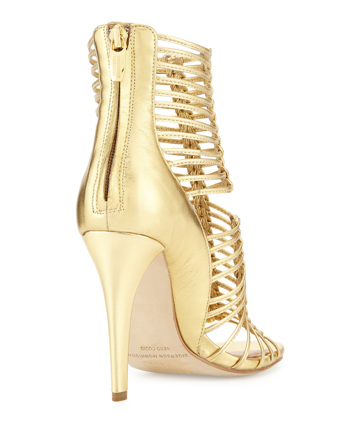 9ca9c0920d43a5 Lyst - Sigerson Morrison Mella Strappy Leather Cage Sandal in Metallic