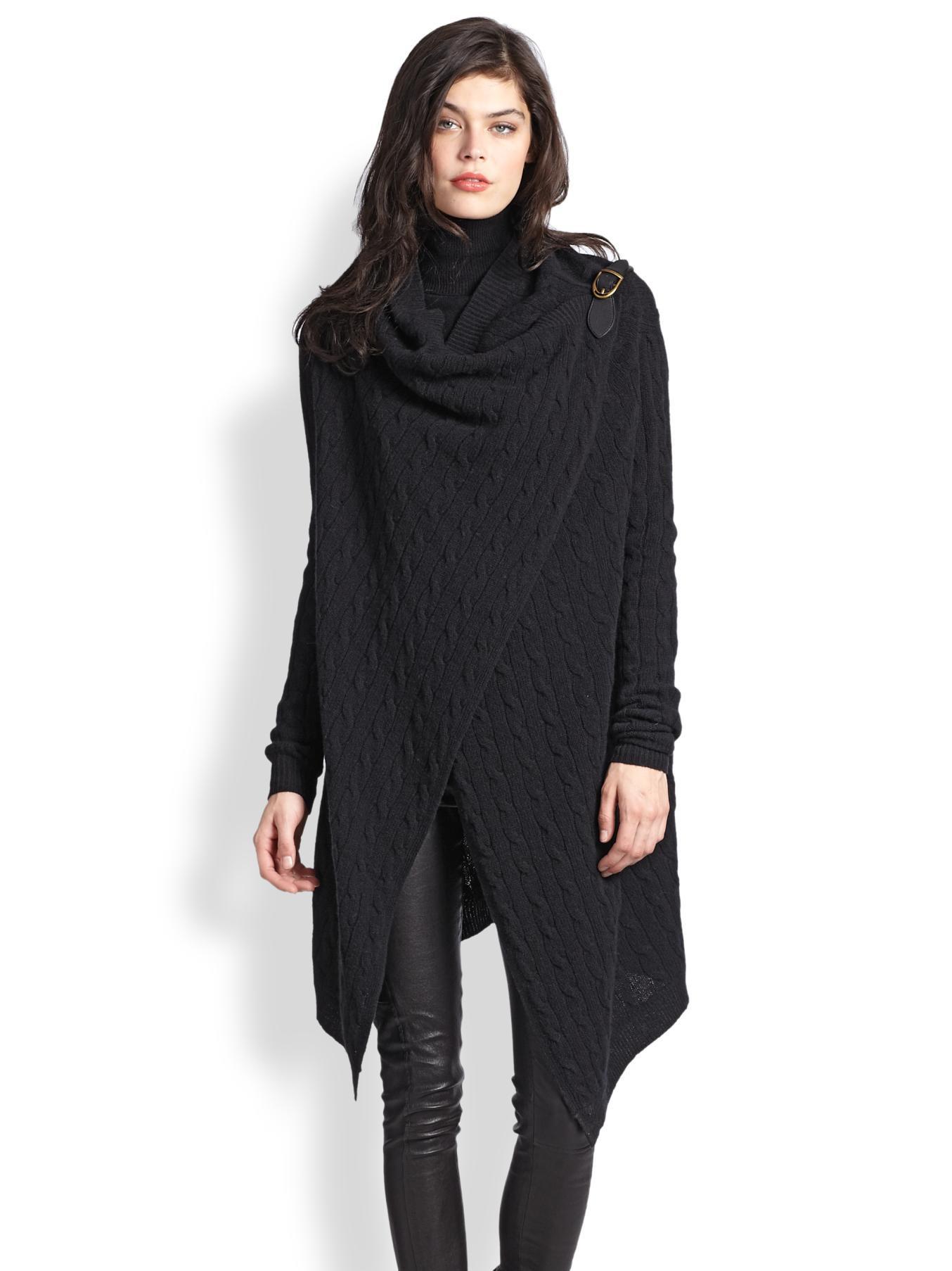 e029b1d87c Polo Ralph Lauren Wool   Cashmere Wrap Sweater in Black - Lyst