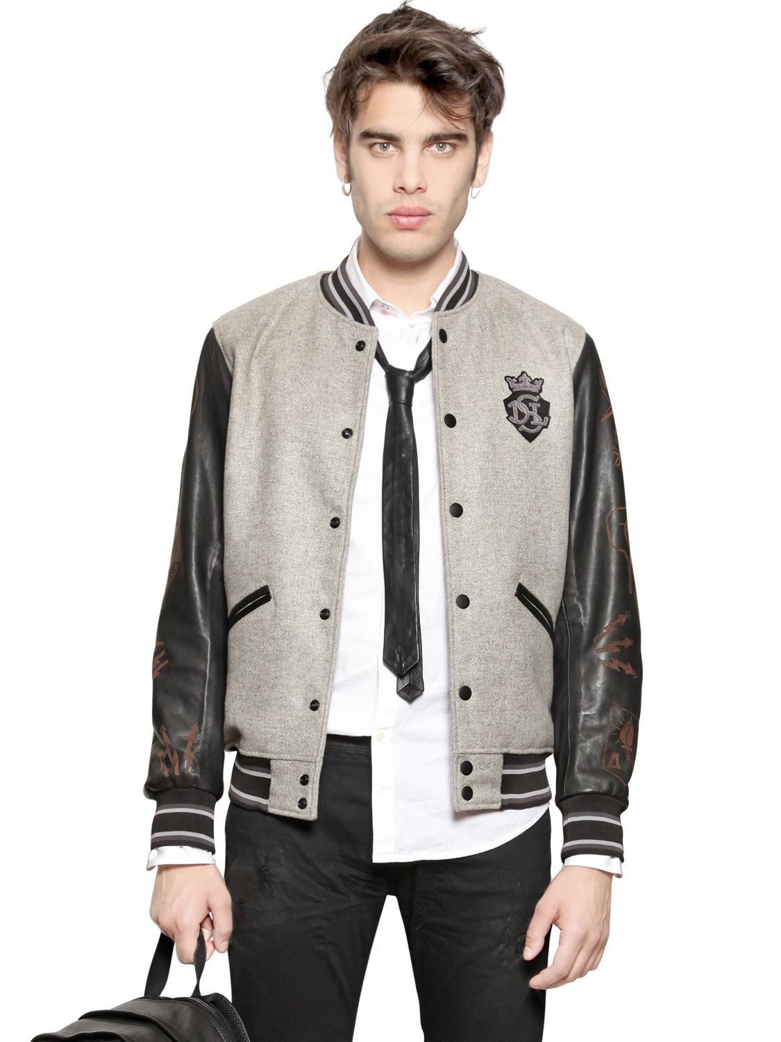 Diesel Wool Felt Varsity Bomber Jacket in Gray for Men | Lyst
