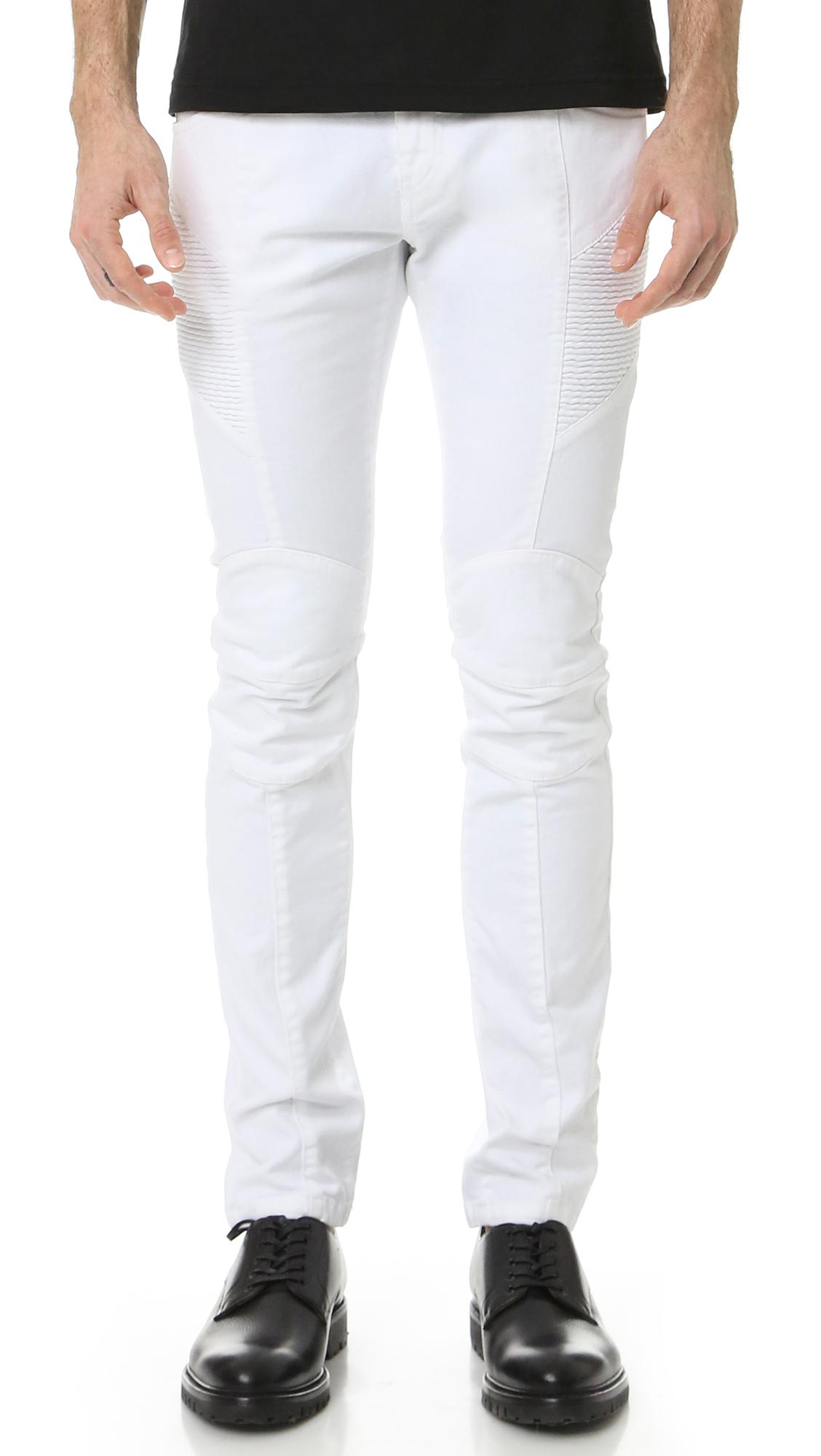 ca950310 Lyst - Balmain Moto Jeans in White for Men