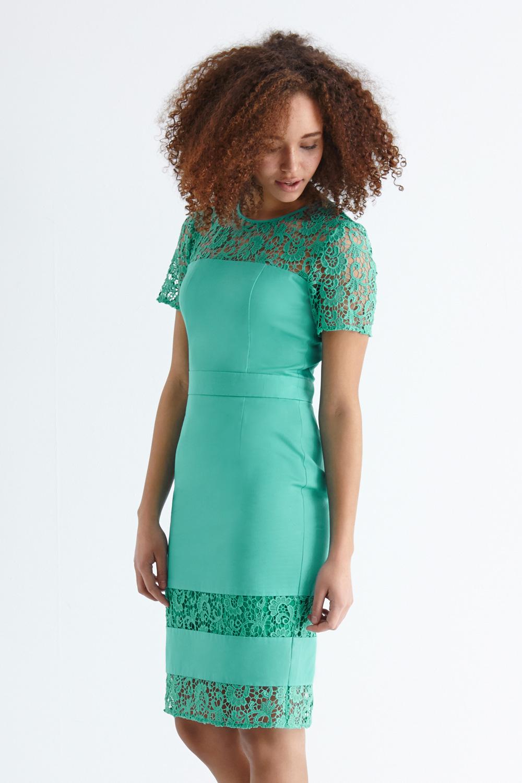 Teal Lace Pencil Dresses Cheap  Dress images