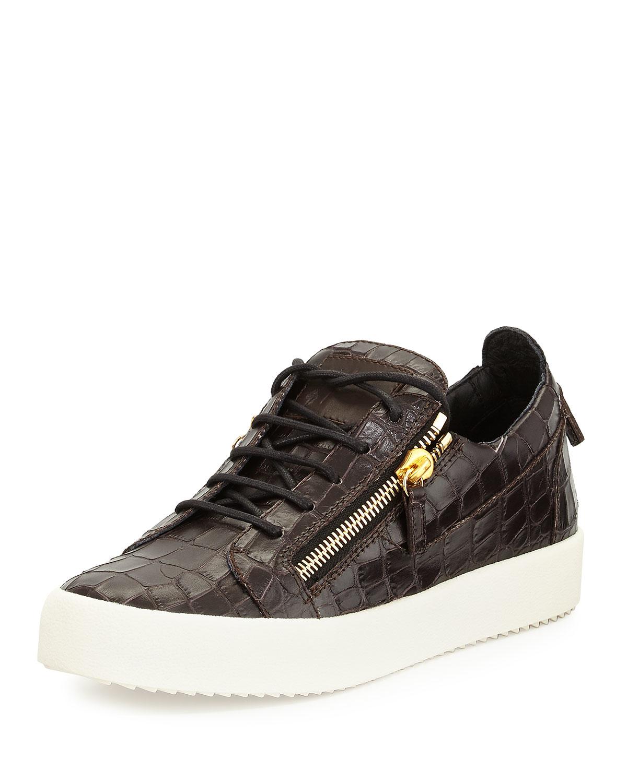 giuseppe zanotti nicki croc embossed low top sneakers in