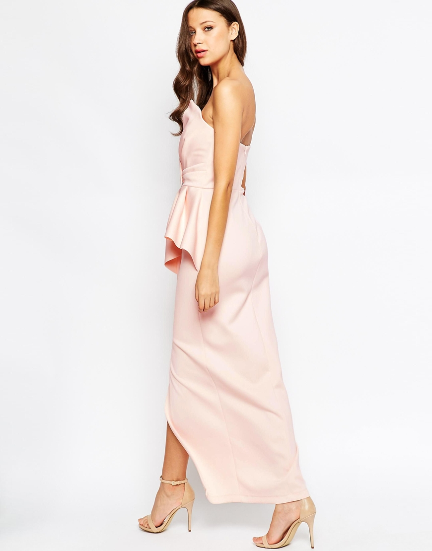Asos pearl one shoulder maxi dress