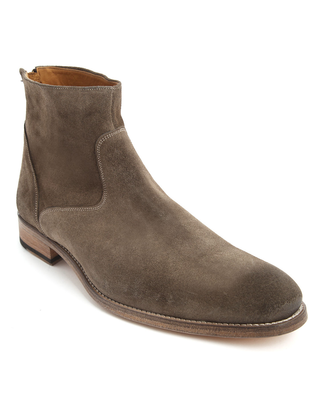 anthology taupe leather boots with rear zip in brown for