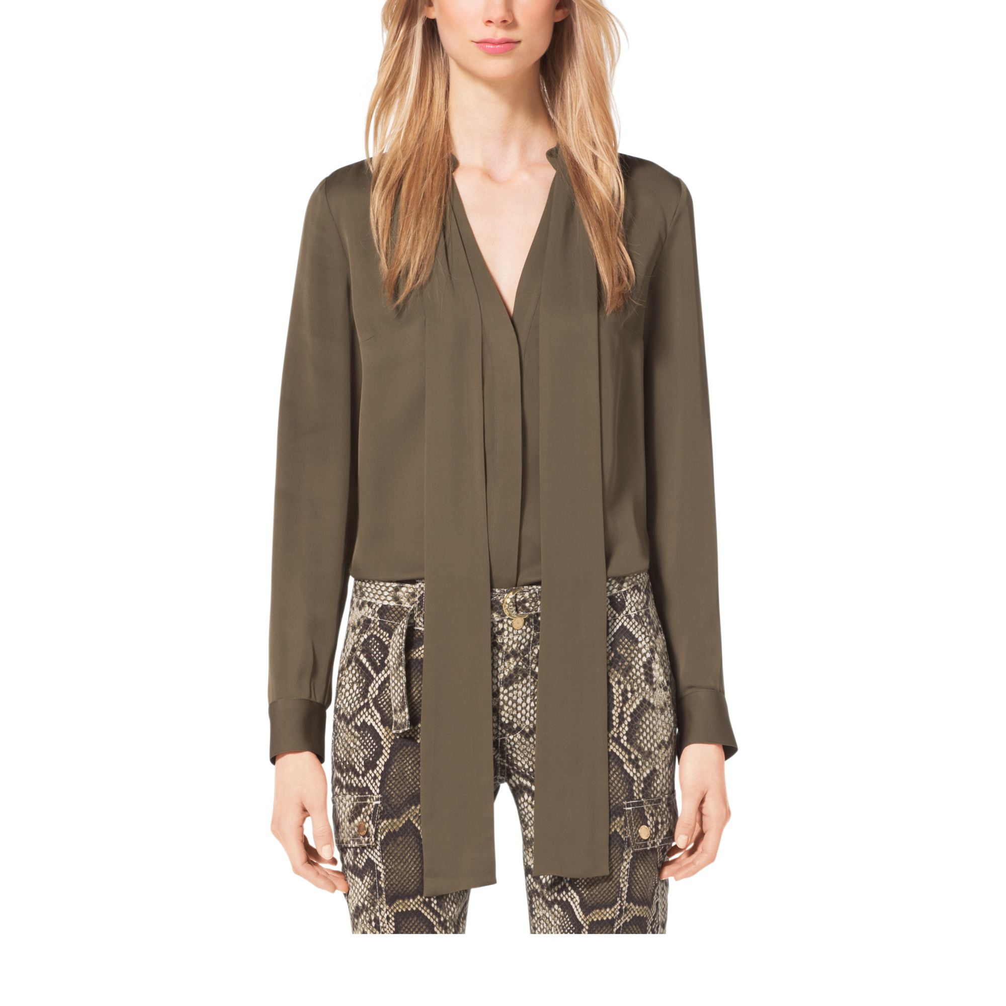 Lyst - Michael Kors Tie-neck Silk Blouse in Green e590005f4a837