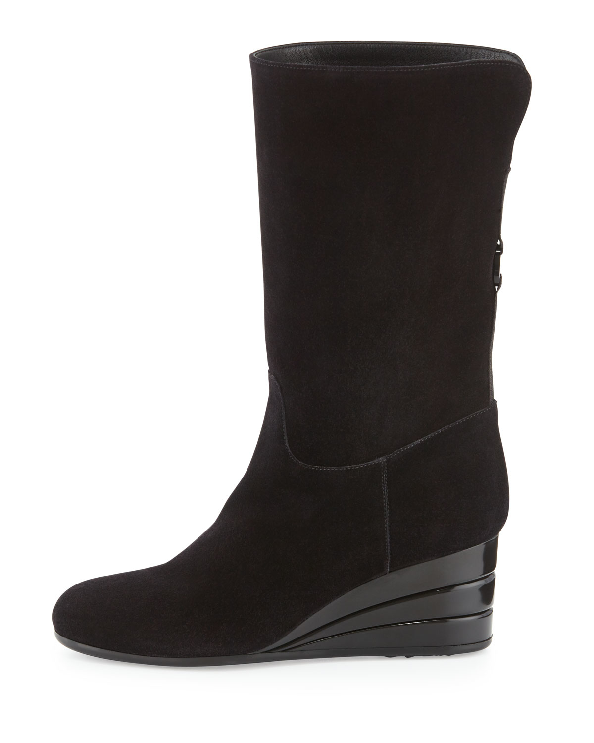 ferragamo my winter suede wedge boot in black lyst