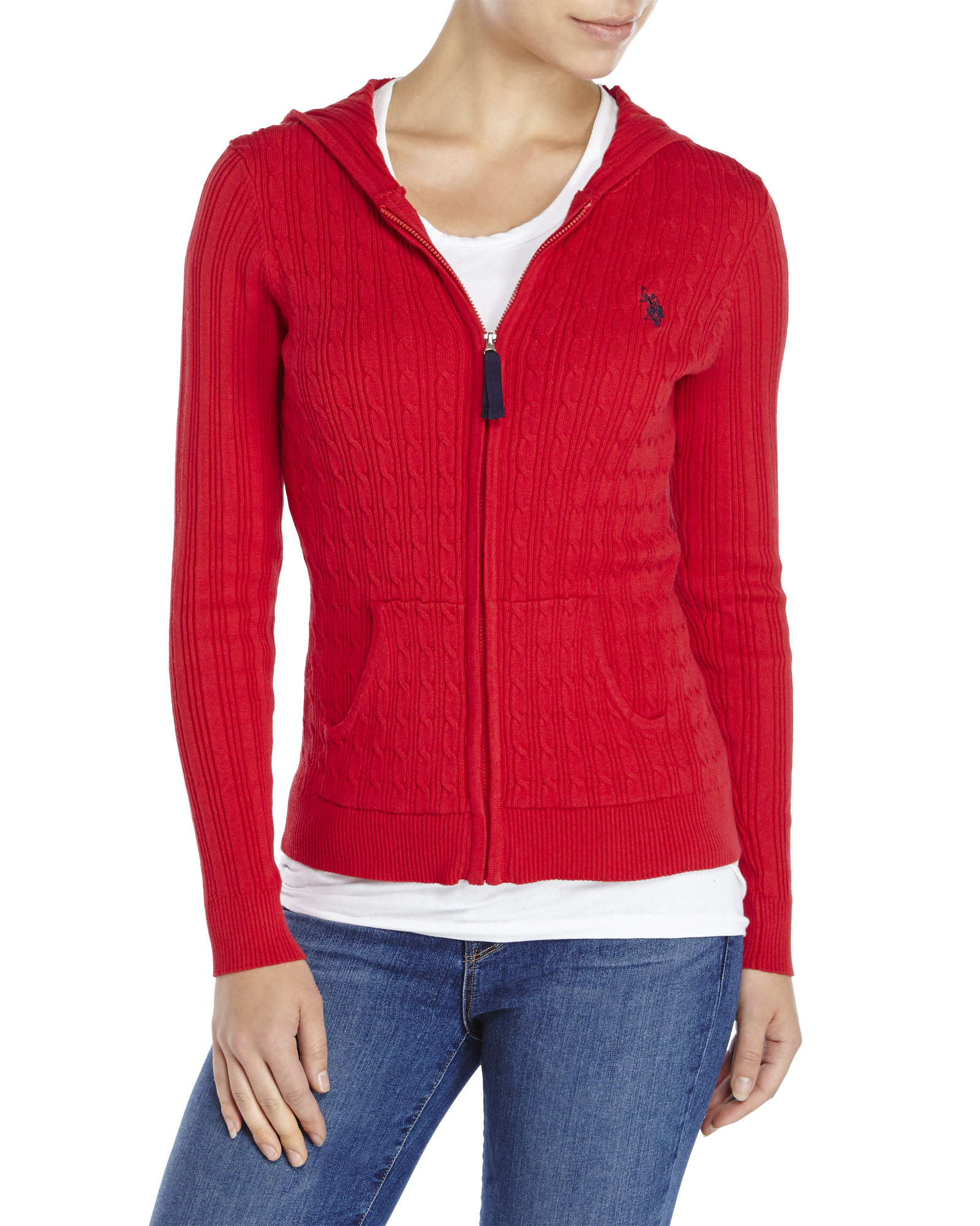 U.s. polo assn. Cable Knit Hoodie Sweater in Red | Lyst