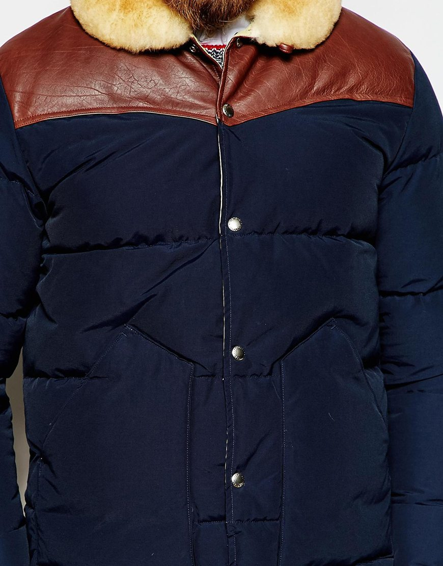 Penfield Shower Proof Rockwool Down Fill Jacket With Leather Yoke ...