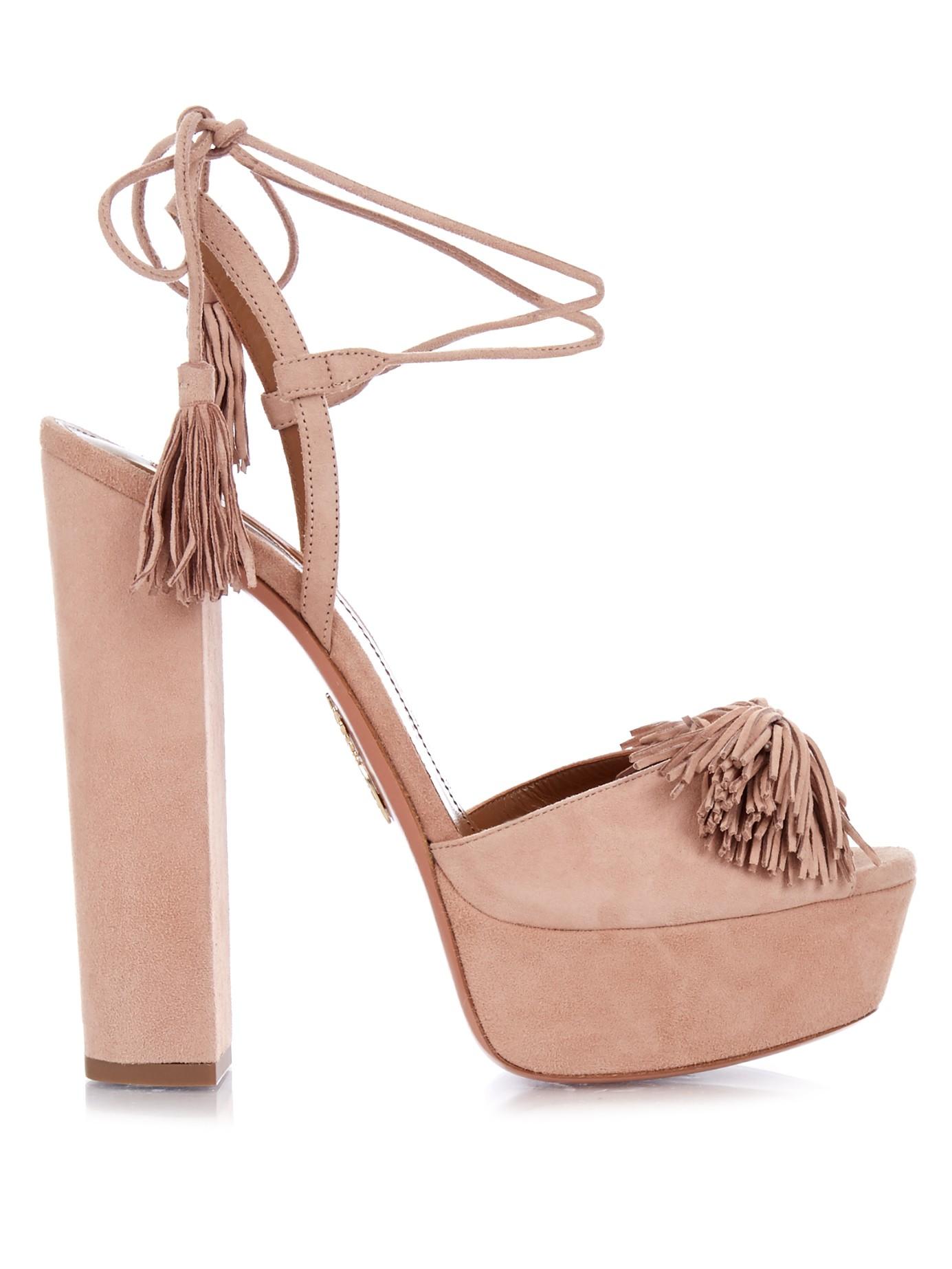 33377b69423 Lyst - Aquazzura Wild One Suede Sandals in Pink