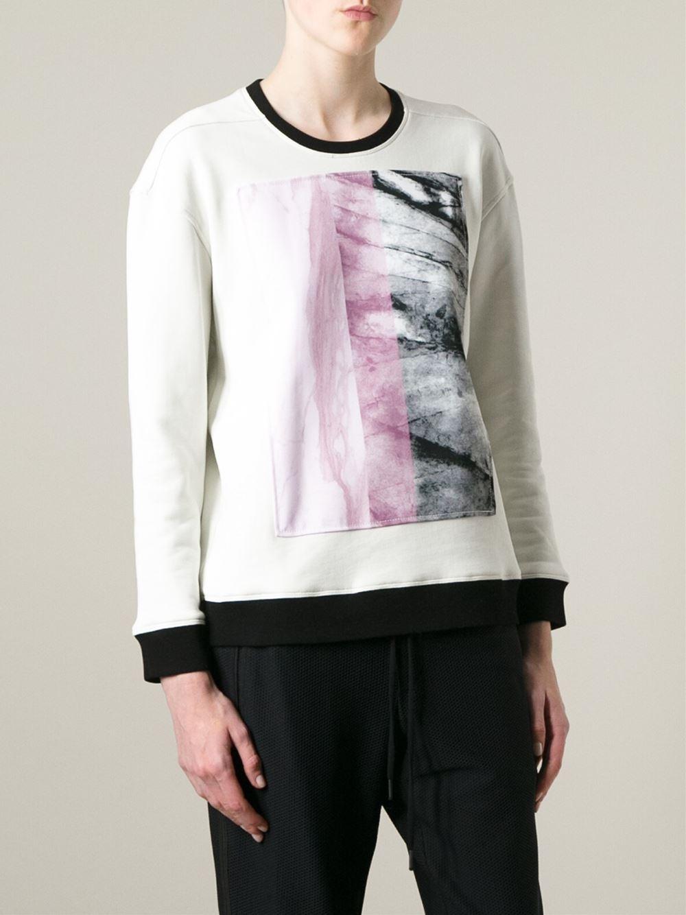 Helmut lang marble print sweatshirt in white lyst - Sweatshirt kleid lang ...