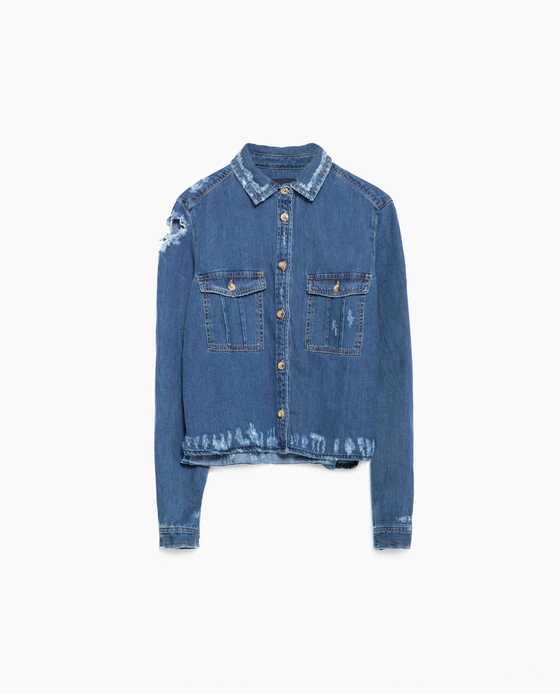 Zara Ripped Denim Shirt Ripped Denim Shirt in Blue | Lyst