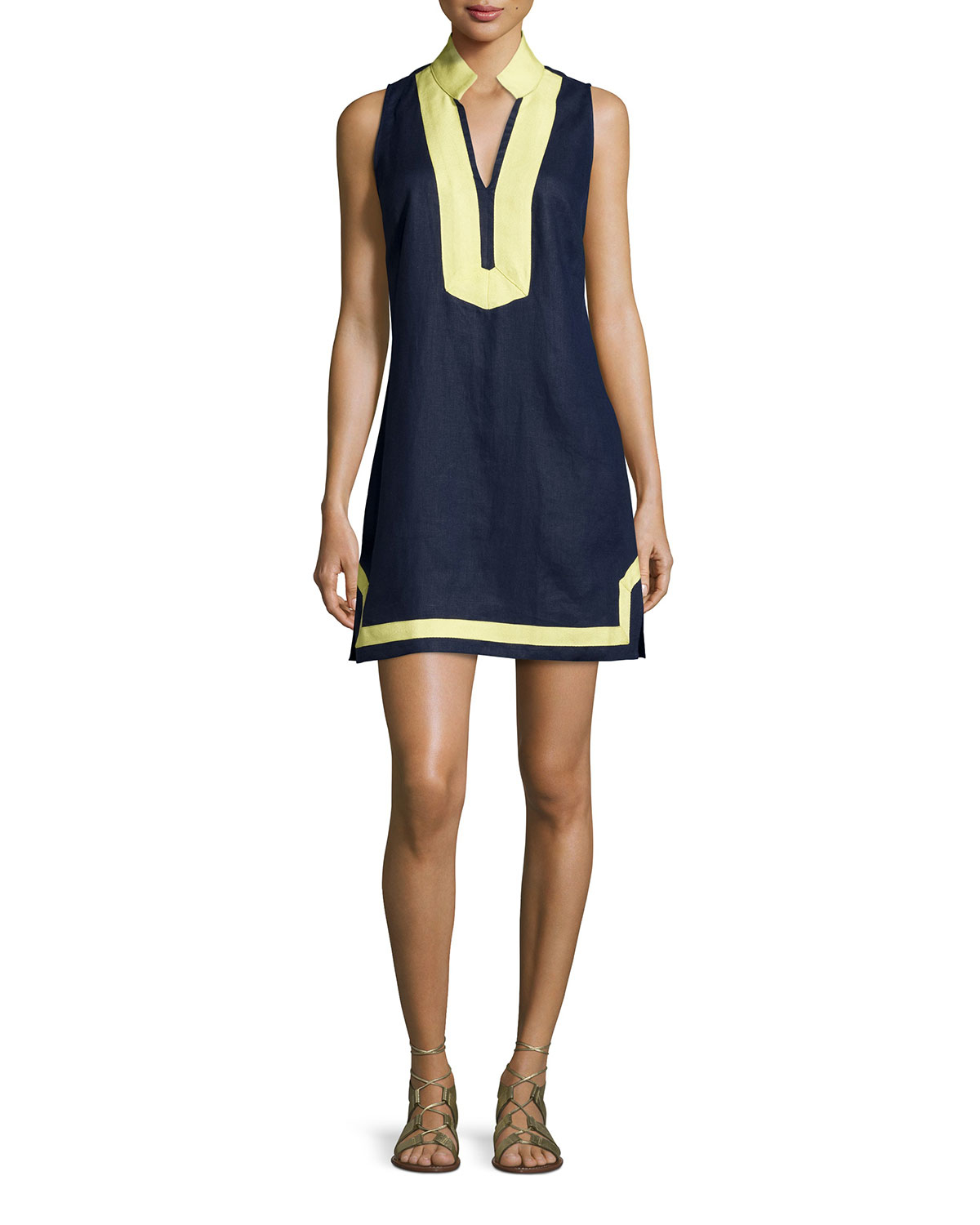 1e42d85886 Lyst - Sail To Sable Classic Linen Sleeveless Dress in Yellow