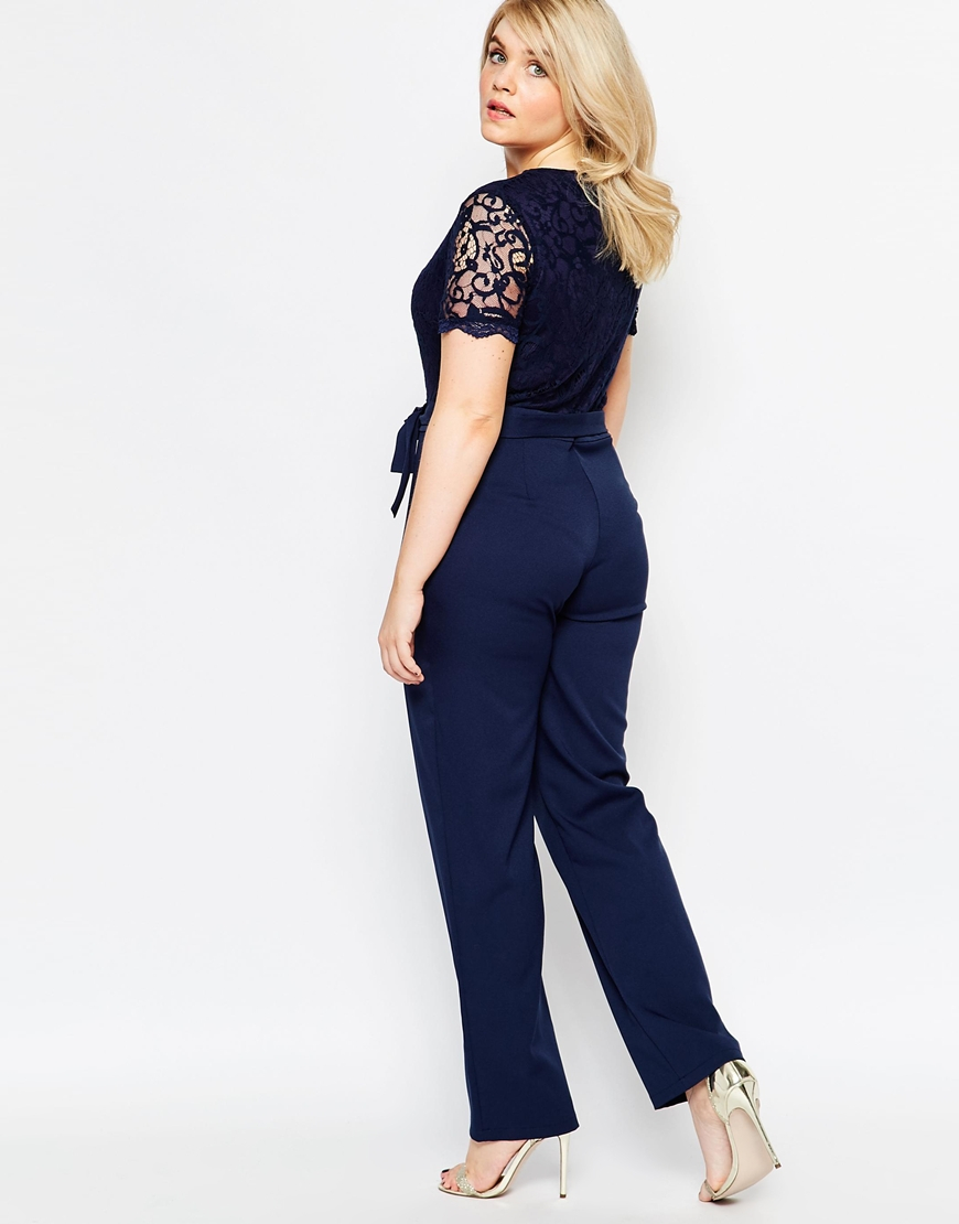 7f58aa1b91136 Lyst - Club L Plus Size Jumpsuit With Scallop Lace Top in Blue