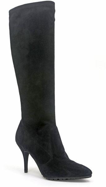 tahari yolanda suede boots in black black suede lyst