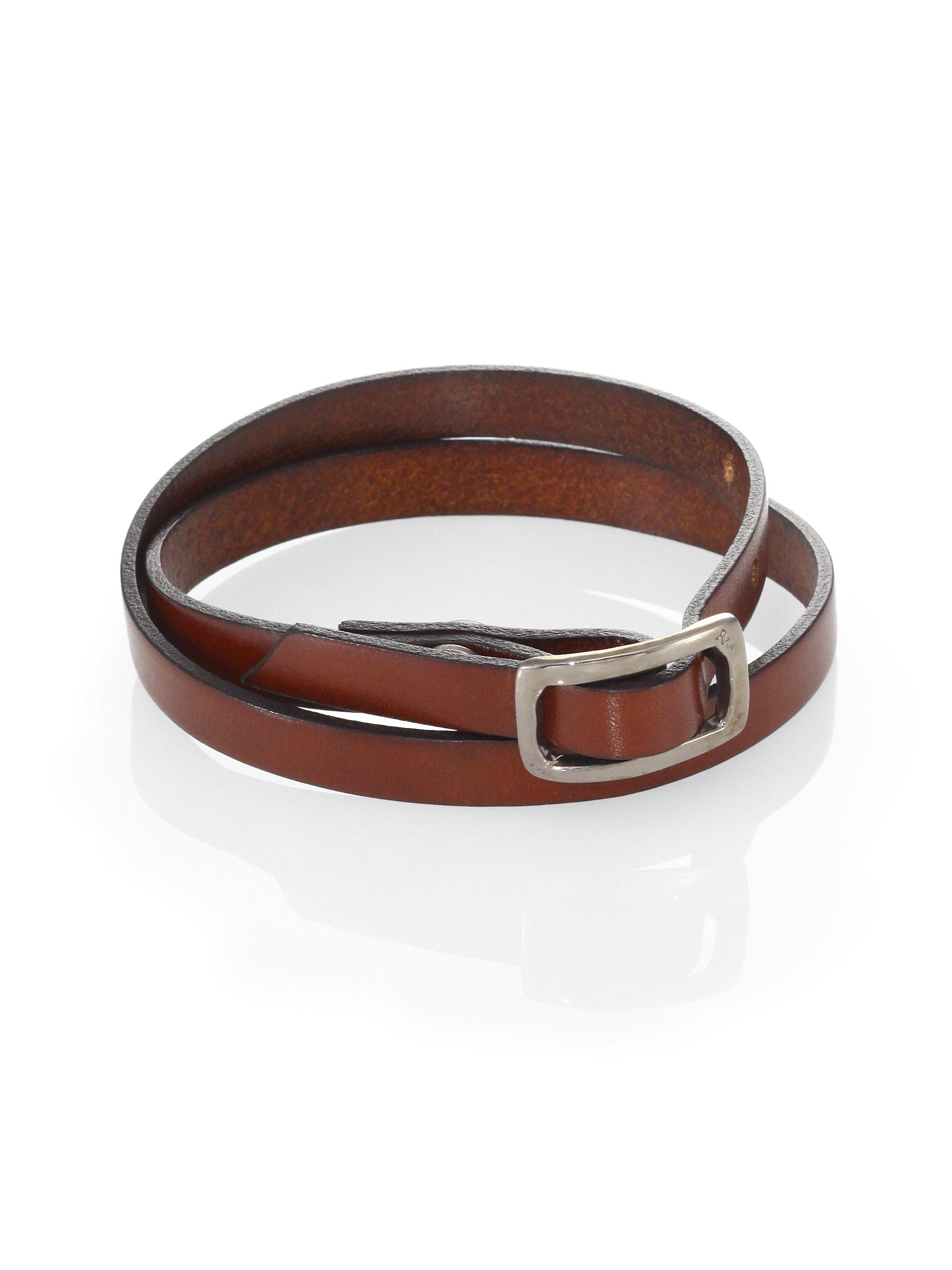 robin rotenier seville leather wrap bracelet in brown for