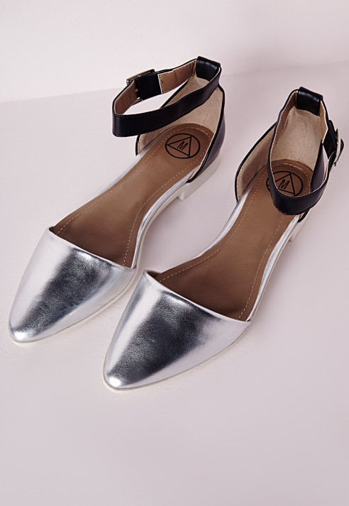 Lyst - Missguided Ankle Strap Pointed Flat Shoes Silver in Metallic 3cb54a1c4b0a