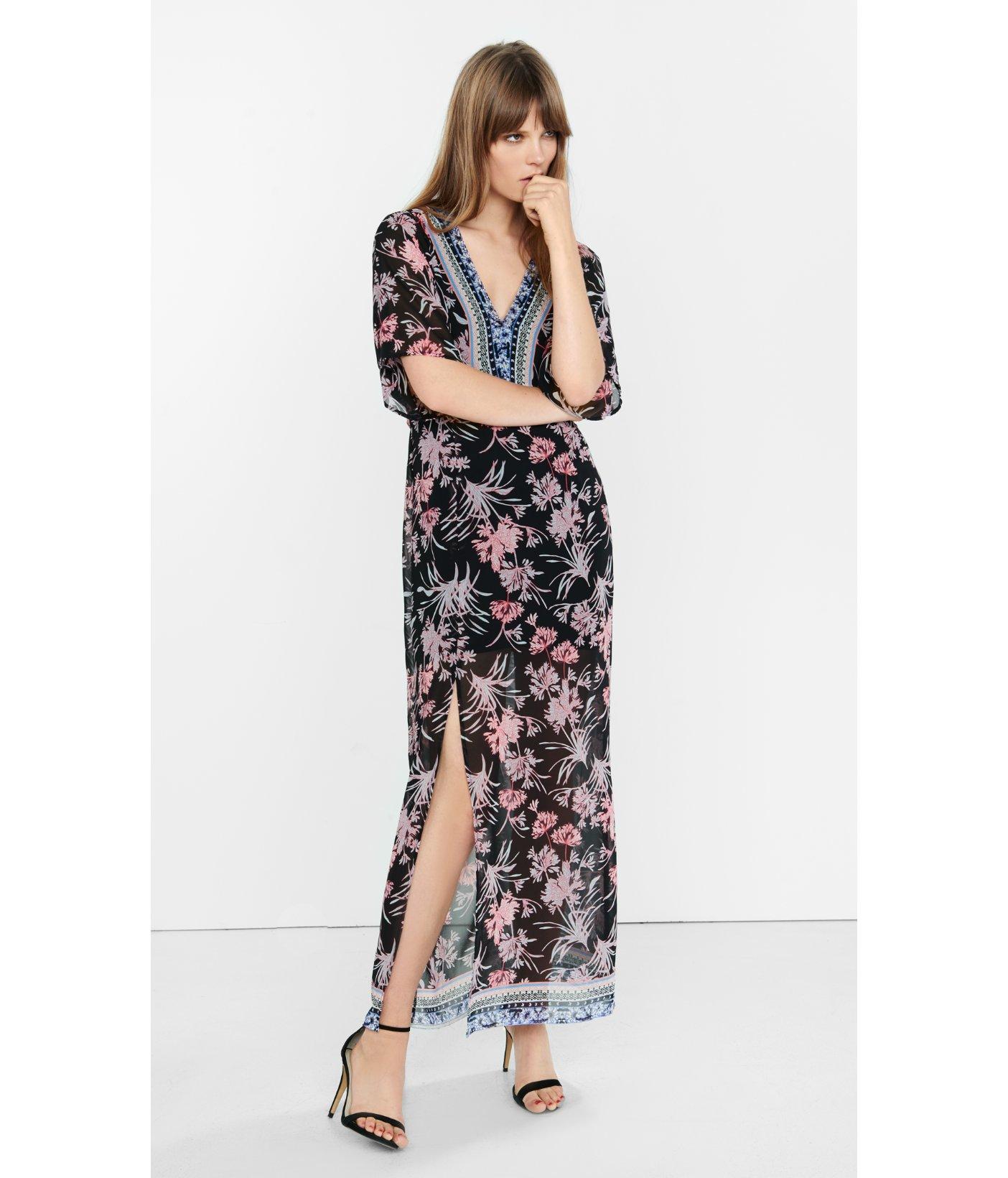 457549a3e9 Express Floral Print Kimono Sleeve Maxi Dress in Black - Lyst