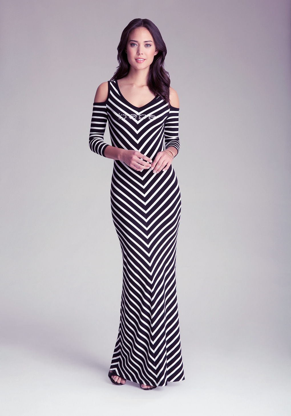 Bebe Cold Shoulder Chevron Dress in Black | Lyst