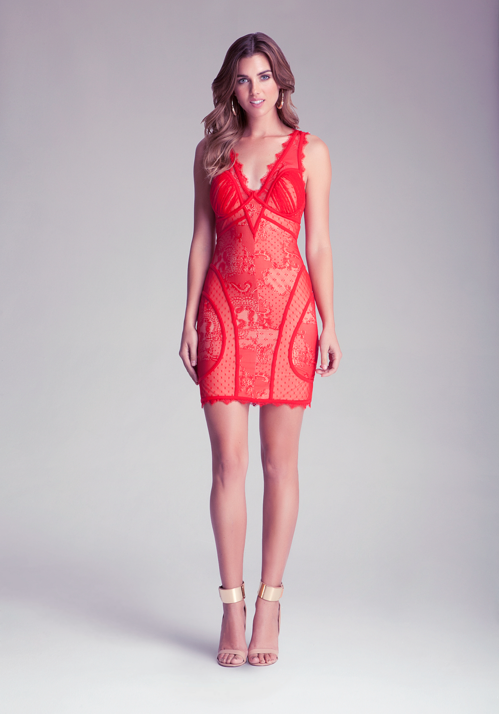 1e9bec0d984 Bebe V Neck Lace Dress in Red - Lyst