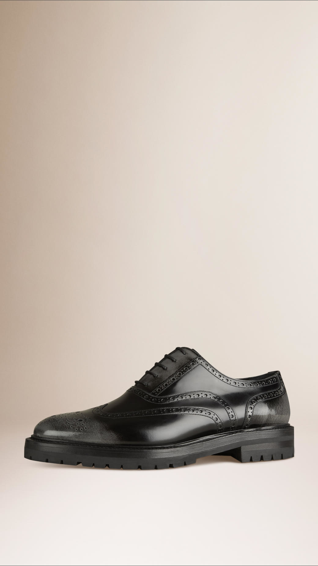Lyst Burberry Leather Wingtip Brogues With Rubber Sole