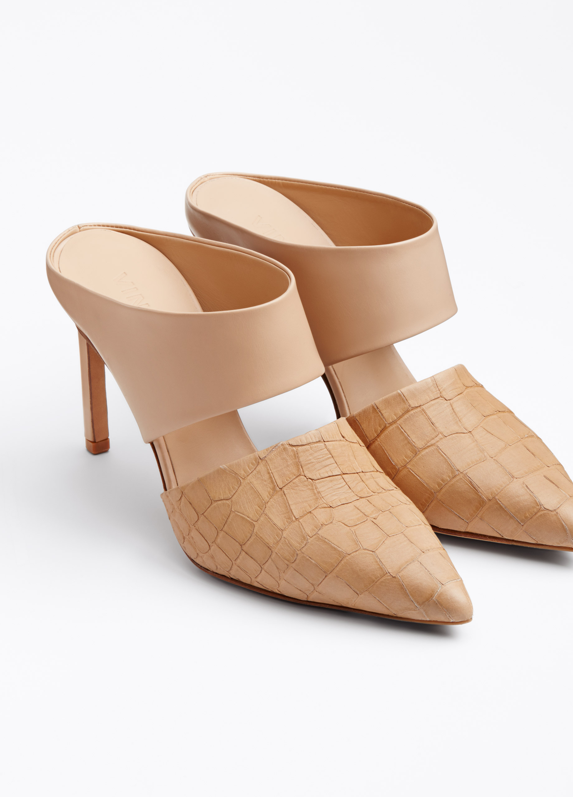 Vince Corrine Exotic Embossed Leather Mules In Natural Lyst