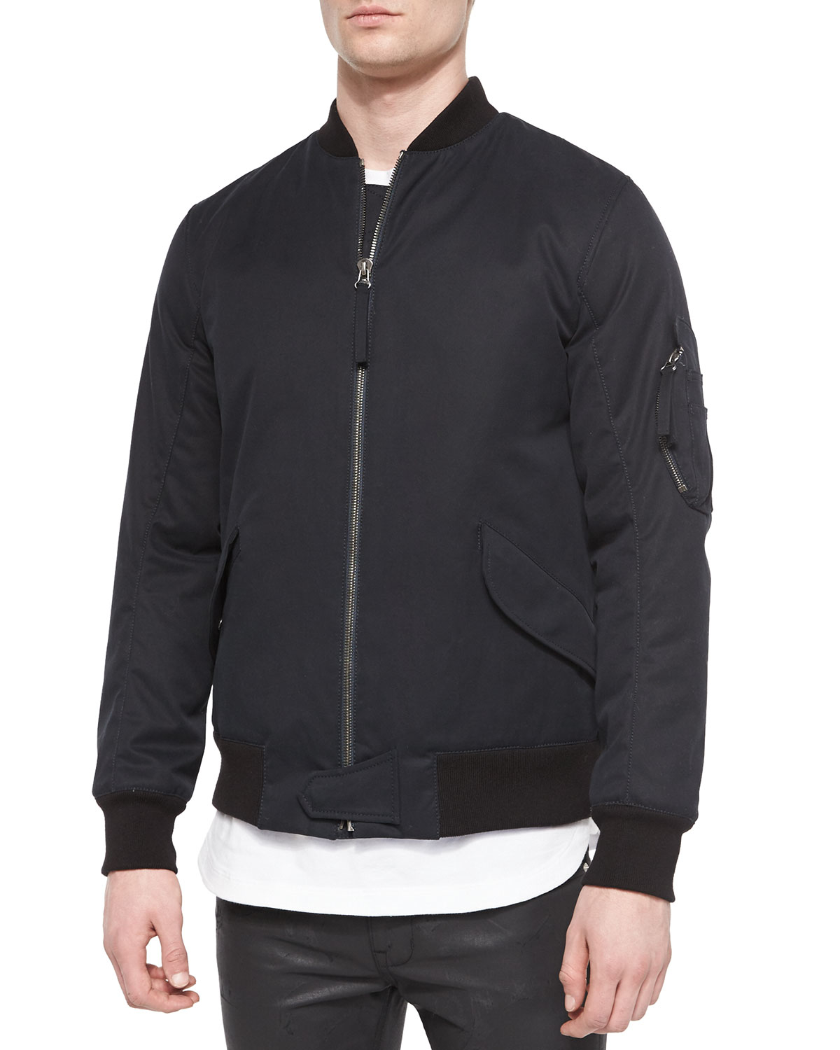 Helmut lang Twill Army Bomber Jacket in Black for Men | Lyst