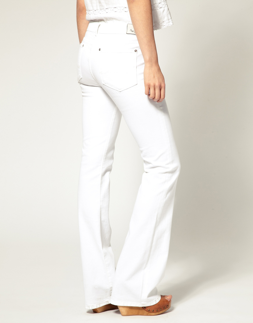 Pepe jeans High Waist Flared Jean in White | Lyst