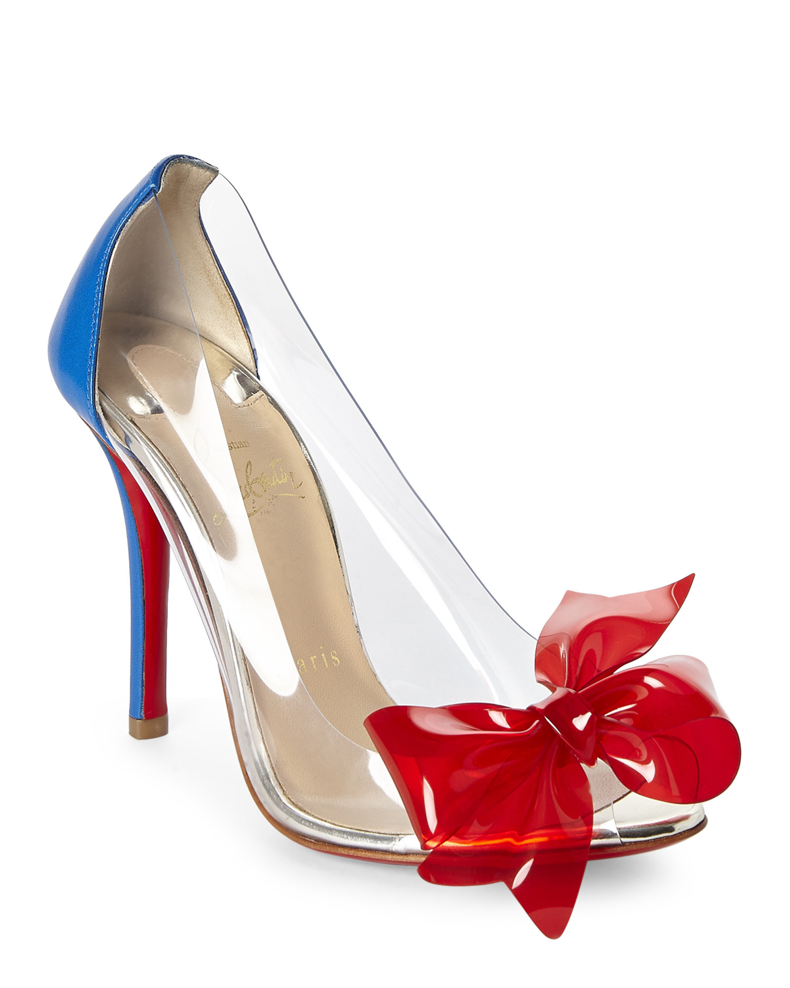12790f2e7c2 Lyst - Christian Louboutin Clear Pvc Bow Pumps in Blue