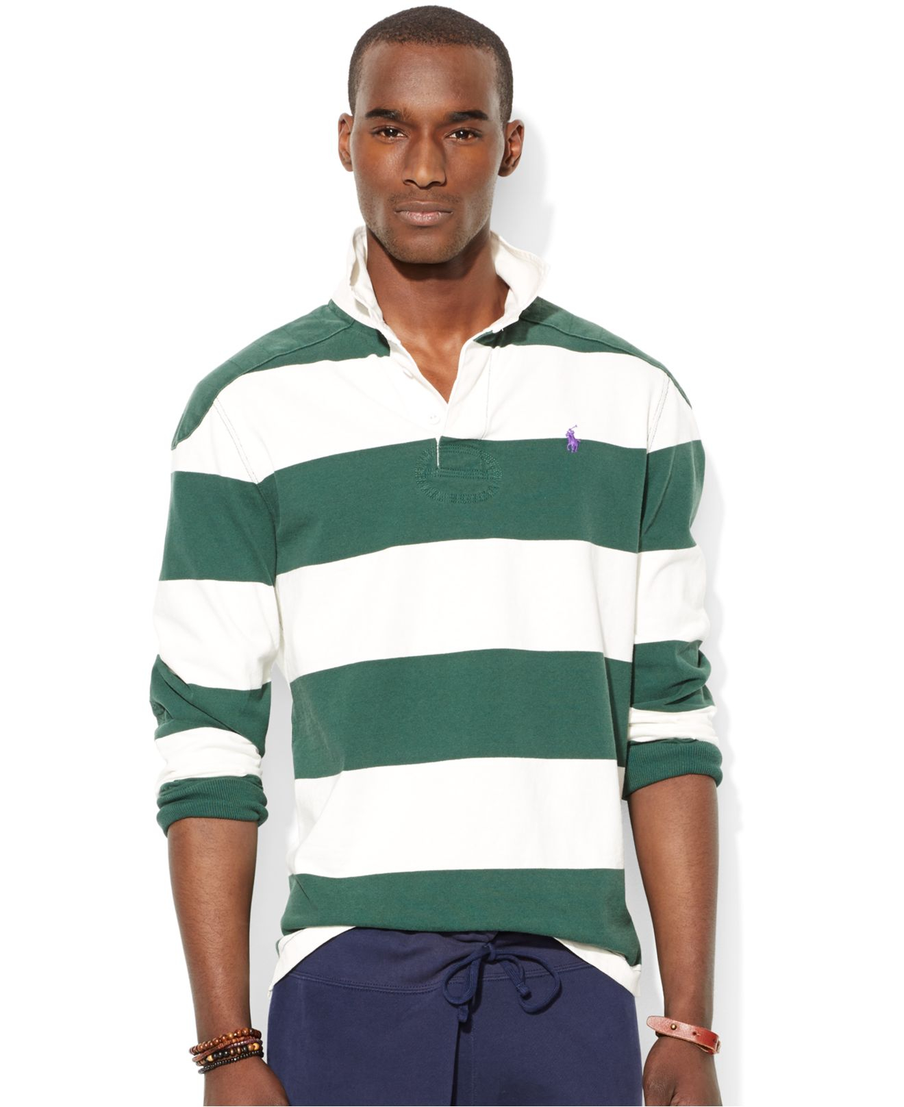 9a63153a Polo Ralph Lauren Striped Rugby Shirt in Green for Men - Lyst
