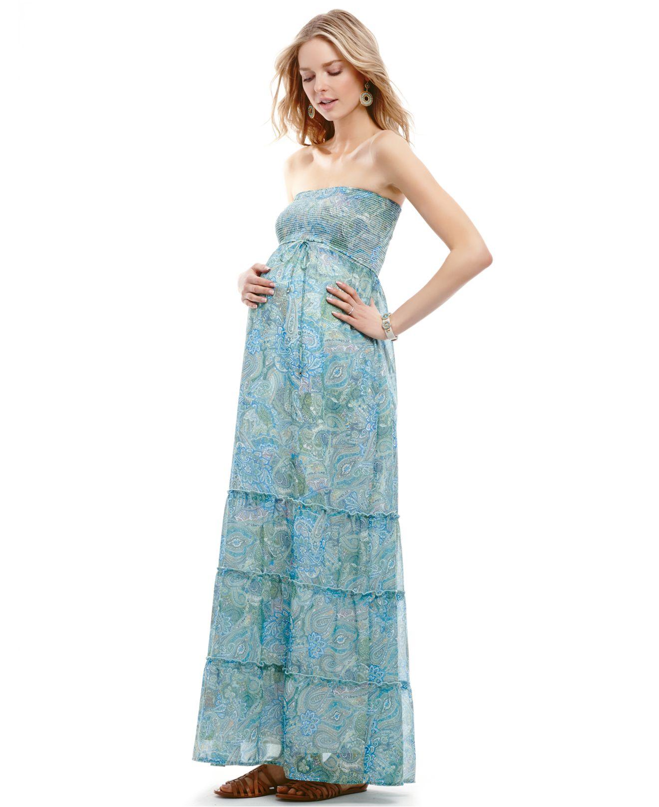 0632dde9e5 Jessica Simpson Maternity Strapless Paisleyprint Smocked Maxi Dress ...