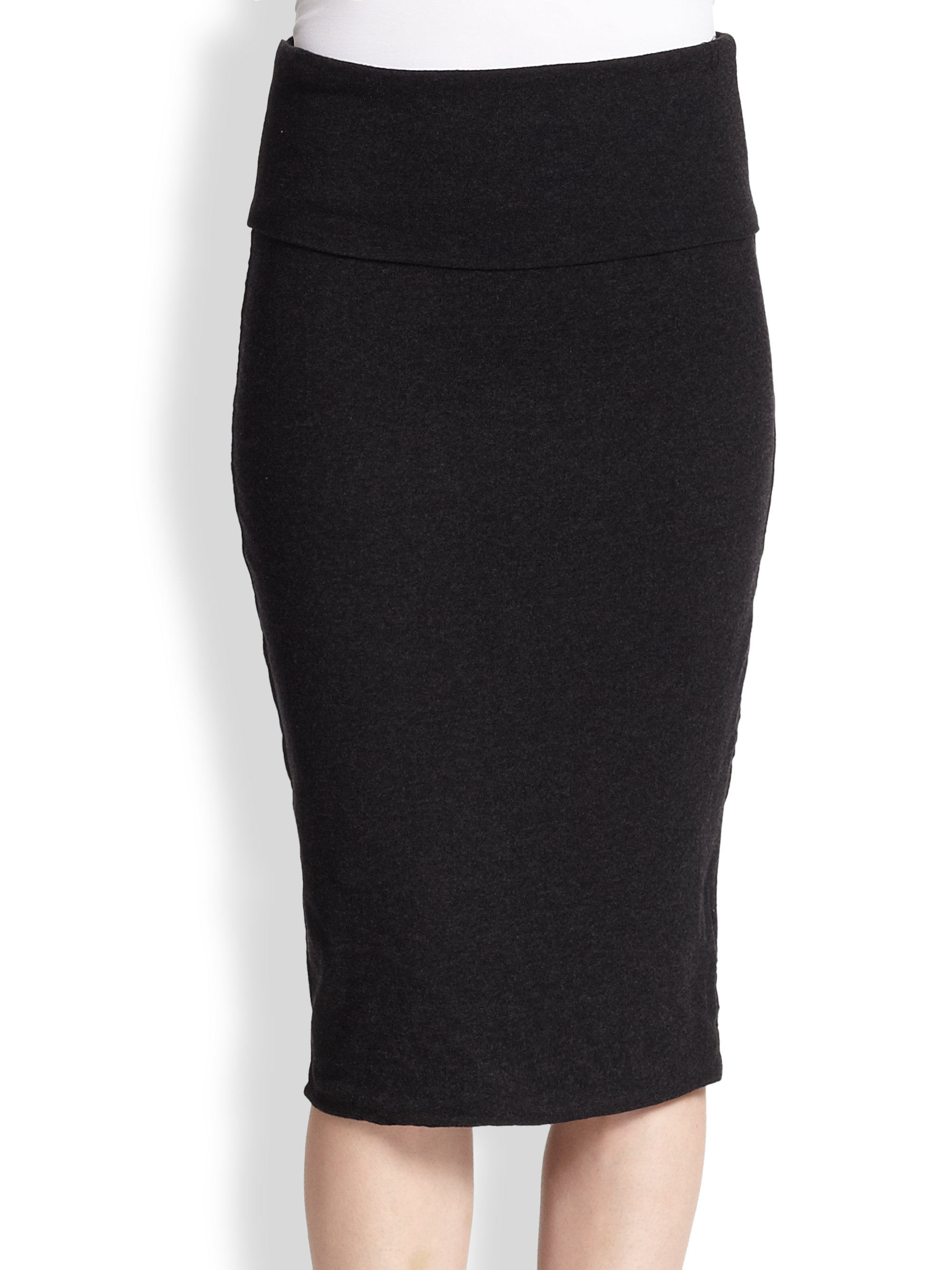 James Perse Stretch Cotton Jersey Pencil Skirt In Black Lyst