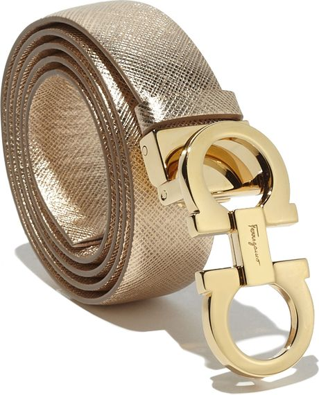Ferragamo Medium Double Gancio Belt in Gold | Lyst
