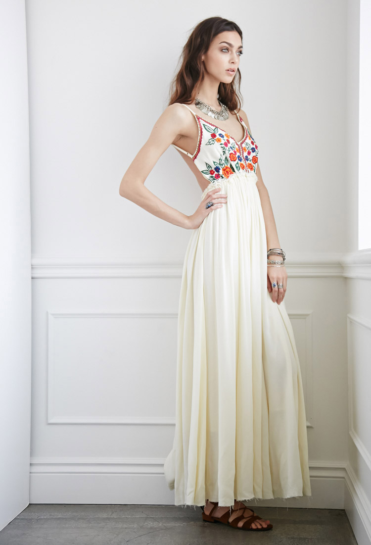 44fb43f1984 Lyst - Forever 21 Raga Embroidered Maxi Dress