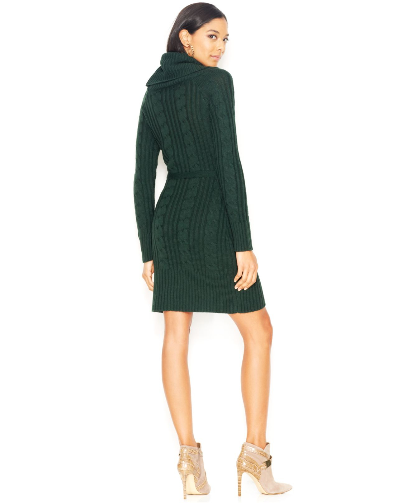 Jessica simpson Cable-Knit Cowl-Neck Sweater Dress in Green | Lyst