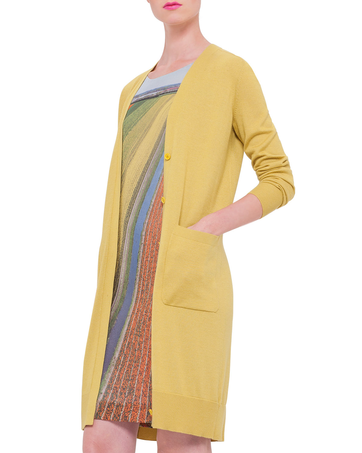 Akris Long Silk-cashmere Cardigan Duster in Yellow | Lyst