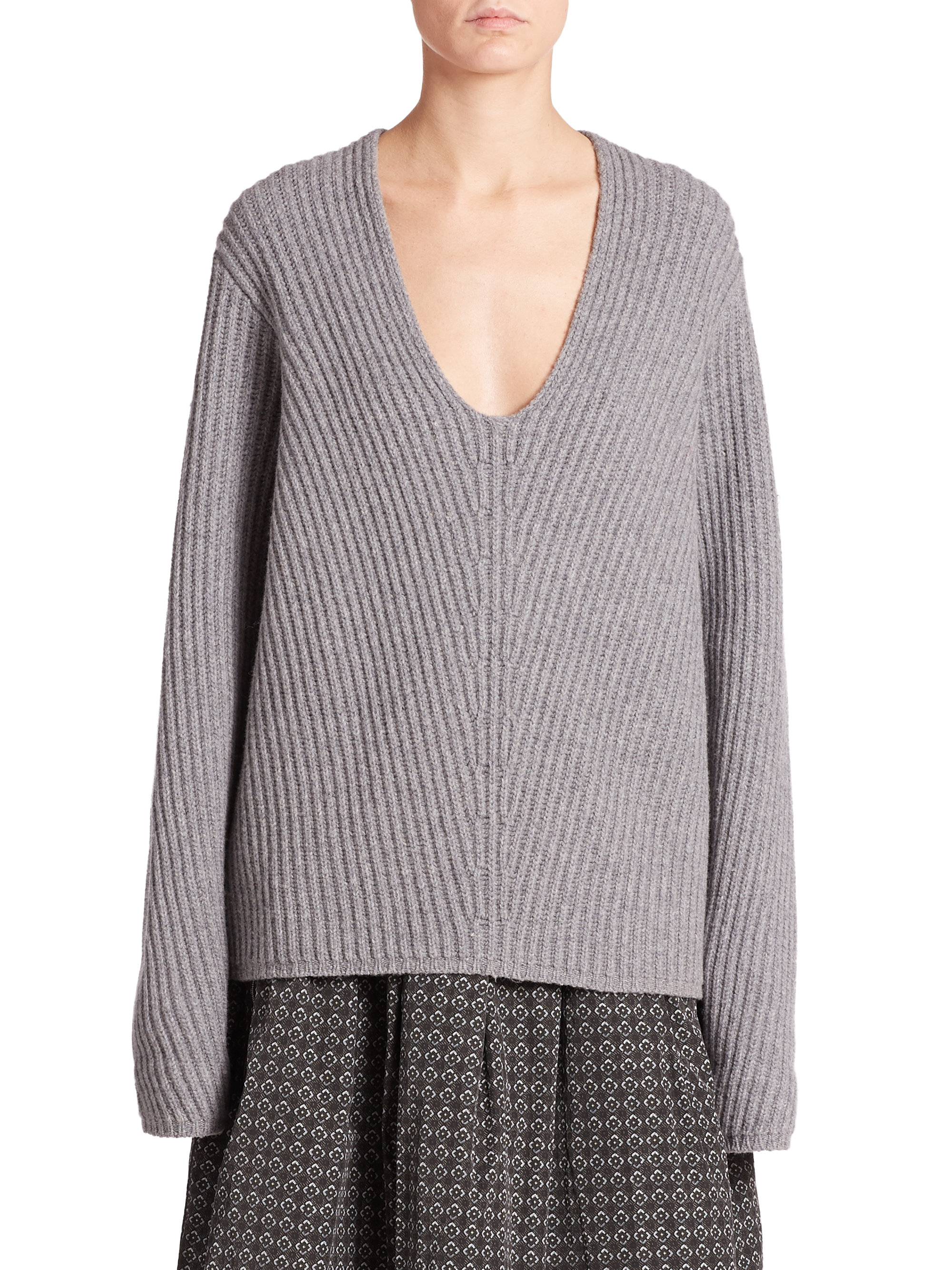 Acne studios Deborah Ribbed Wool Sweater in Brown | Lyst