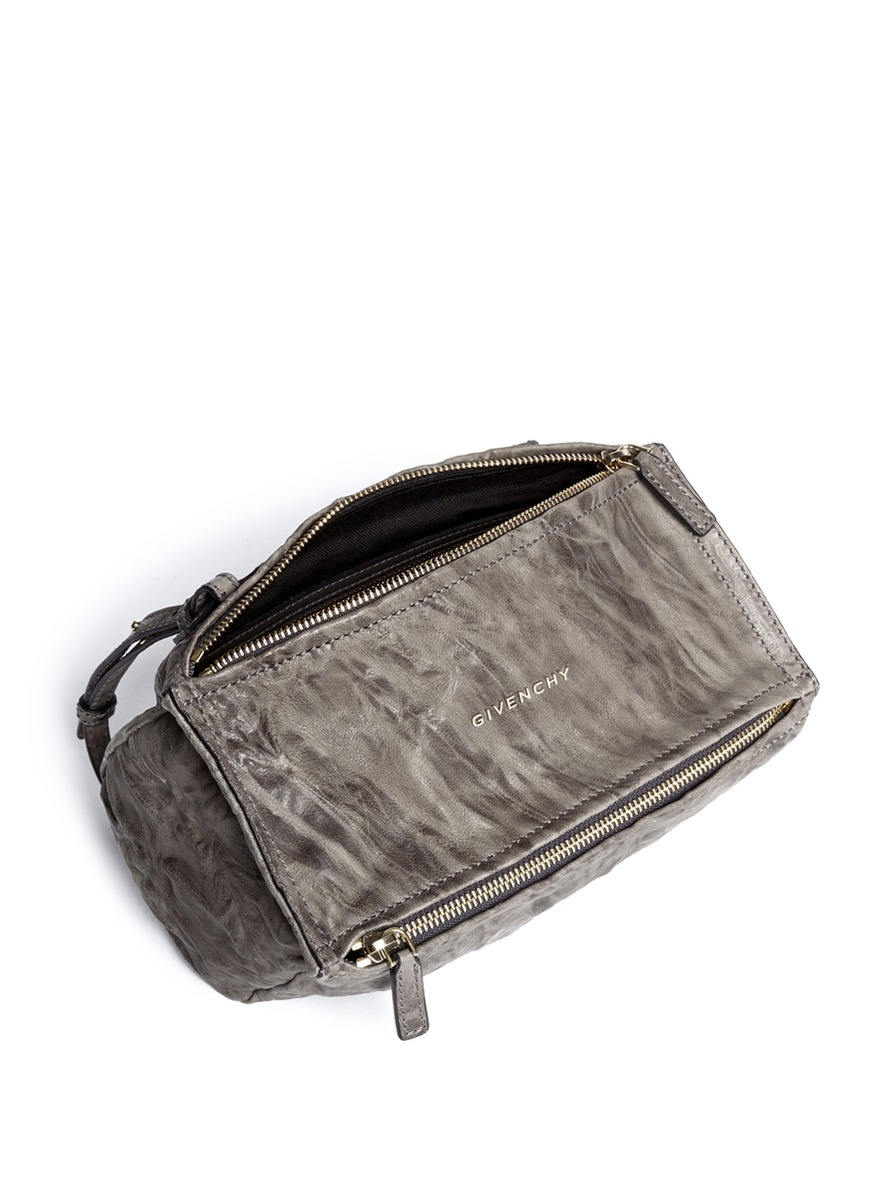 8a3e07d60b Lyst - Givenchy  pandora  Mini Crinkled Leather Bag in Gray