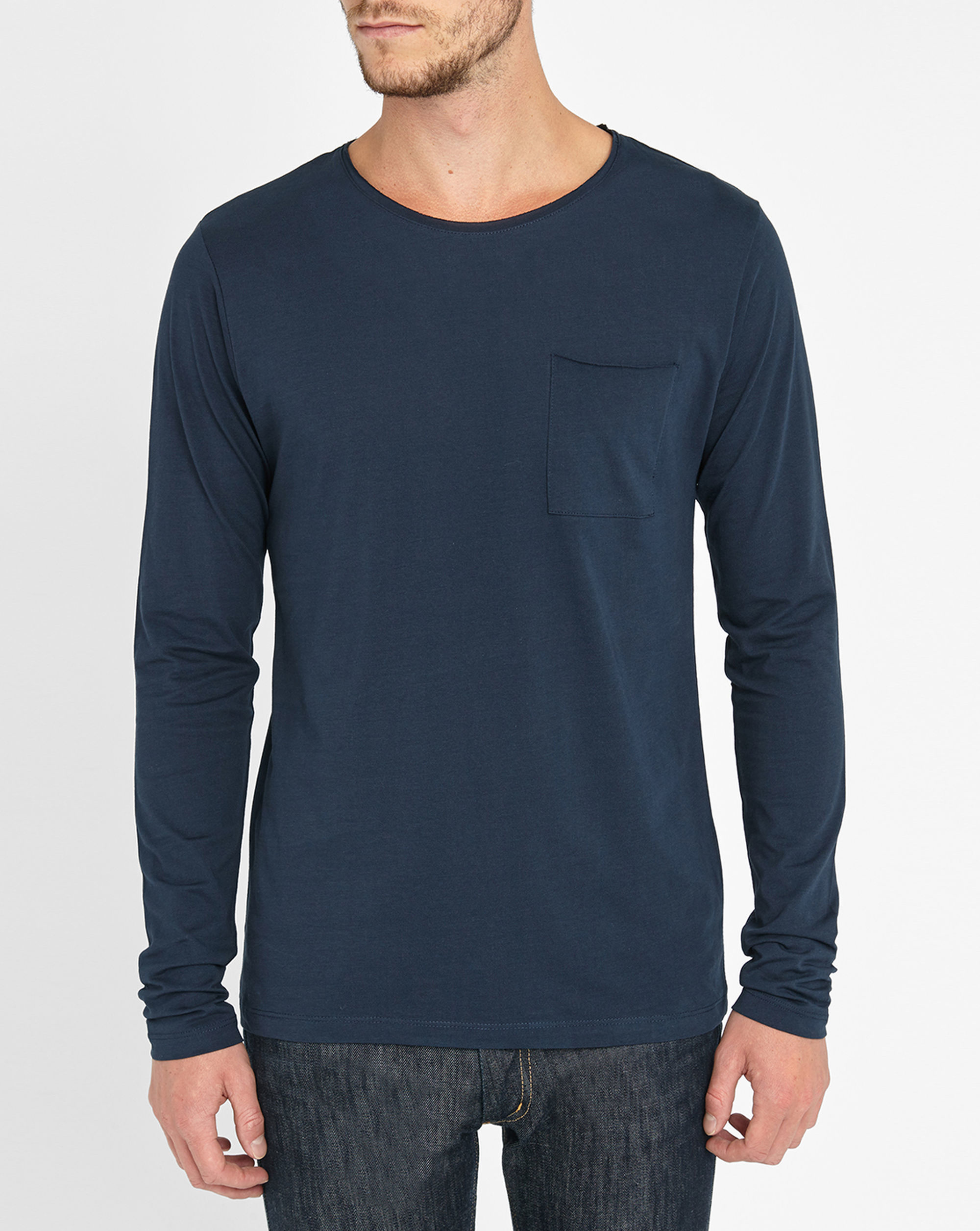 Selected Navy Shpimaflorence Long Sleeve Round Neck Patch